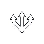 Junction Separation, three way thin line icon. Linear vector illustration. Pictogram isolated on white background