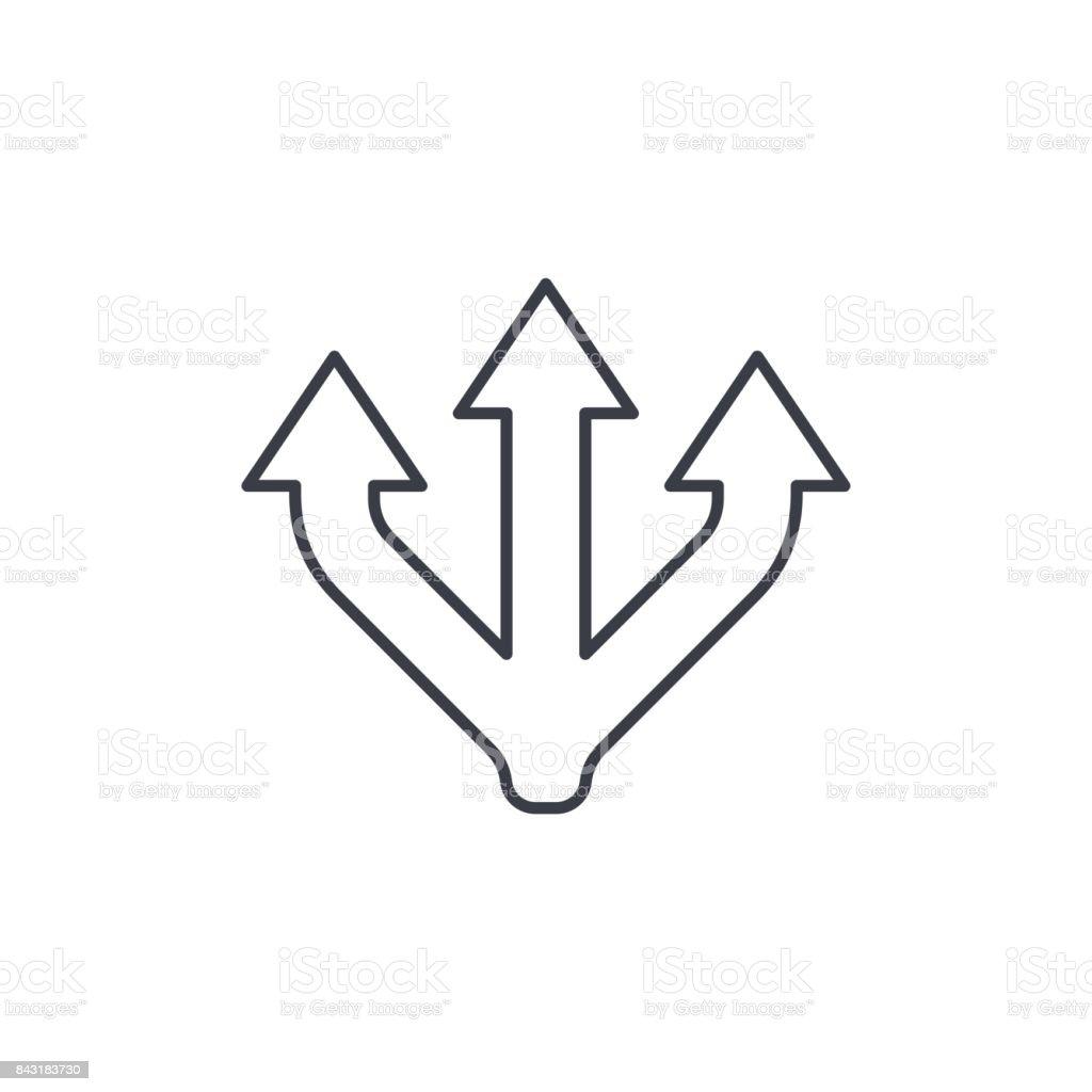 Junction Separation, three way thin line icon. Linear vector symbol vector art illustration