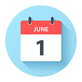 istock June 1 - Round Daily Calendar Icon in flat design style 1304946328