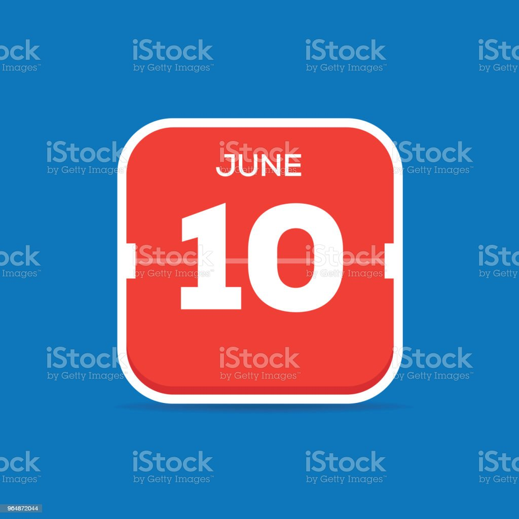 6月10日月曆平面圖標 - 免版稅10號圖庫向量圖形