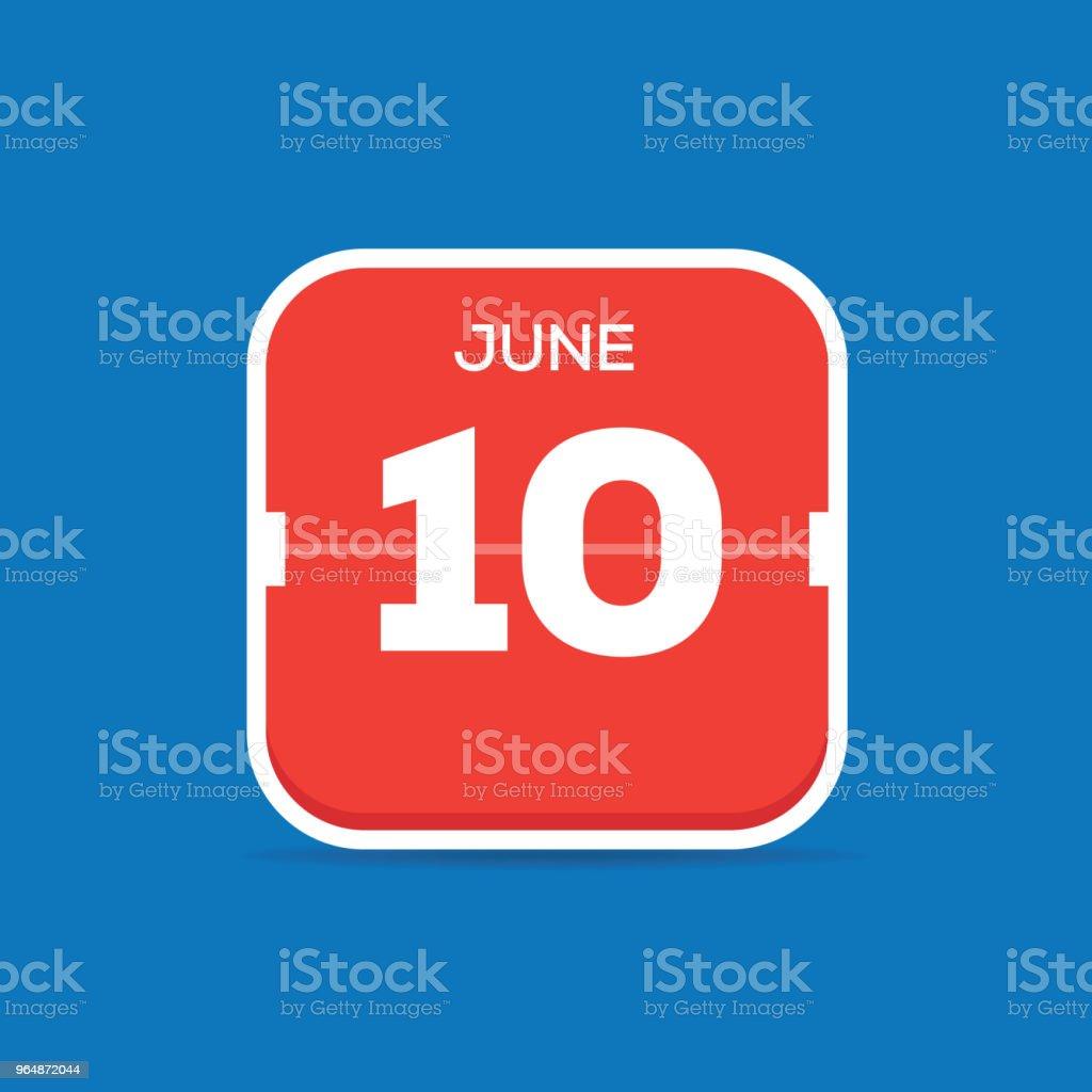 June 10 Calendar Flat Icon royalty-free june 10 calendar flat icon stock illustration - download image now
