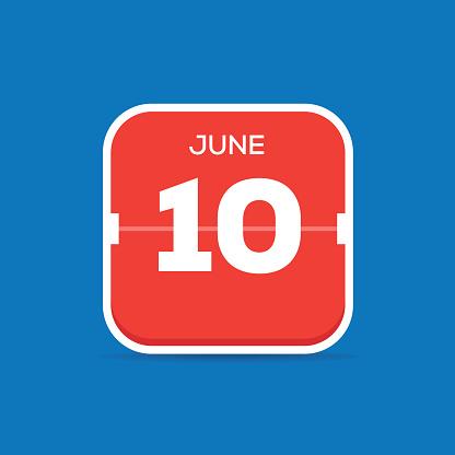 6月10日月曆平面圖標向量圖形及更多10號圖片