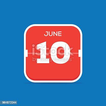 June 10 Calendar Flat Icon Stock Vector Art & More Images of Art 964872044