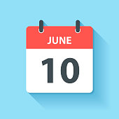 June 10. Calendar Icon with long shadow in a Flat Design style. Daily calendar isolated on blue background. Vector Illustration (EPS10, well layered and grouped). Easy to edit, manipulate, resize or colorize.
