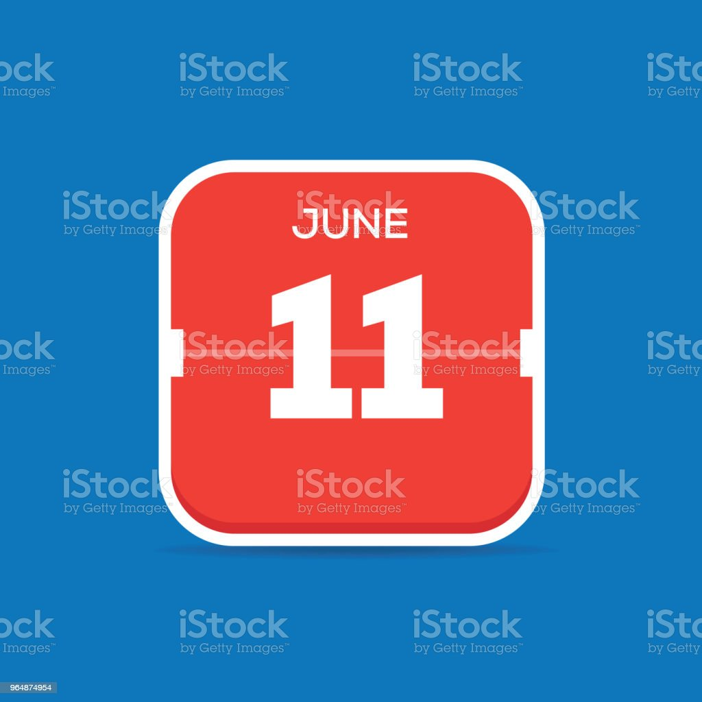 June 11 Calendar Flat Icon royalty-free june 11 calendar flat icon stock vector art & more images of art
