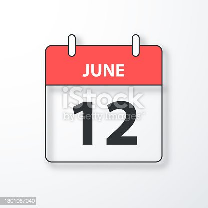 istock June 12 - Daily Calendar - Black outline with shadow on white background 1301067040