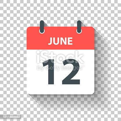 istock June 12 - Daily Calendar Icon in flat design style 1211858857