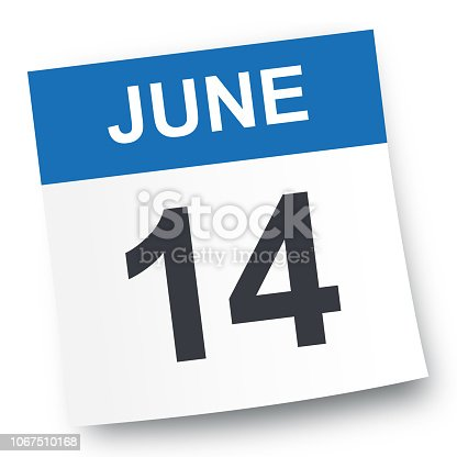 June 14 - Calendar Icon - Vector Illustration