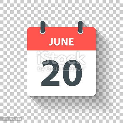 June 20. Calendar Icon with long shadow in a Flat Design style. Daily calendar isolated on blank background for your own design. Vector Illustration (EPS10, well layered and grouped). Easy to edit, manipulate, resize or colorize.