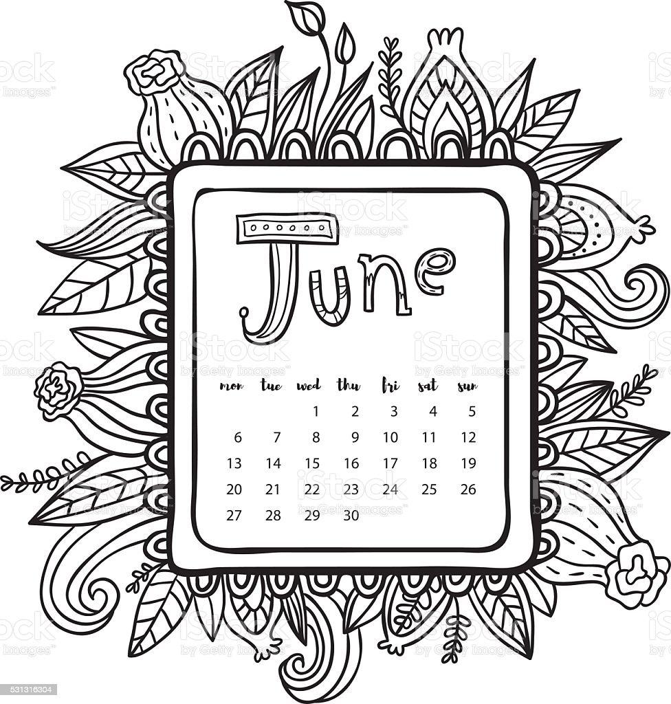Juni 2016kalender Doodle Rahmen Stock Vektor Art und mehr Bilder von ...