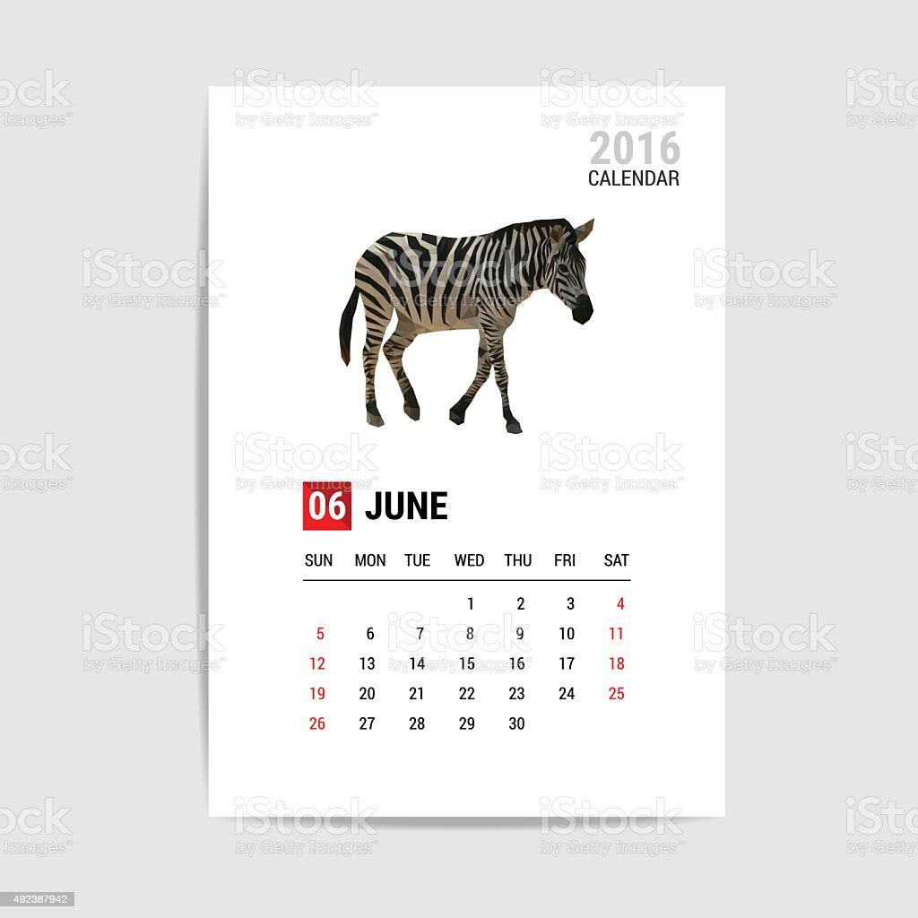 June 2016 calendar, zebra polygon vector vector art illustration