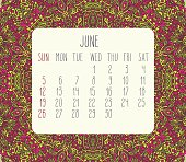 June 2016 vector monthly calendar over lacy doodle hand drawn background, week starting from Sunday.