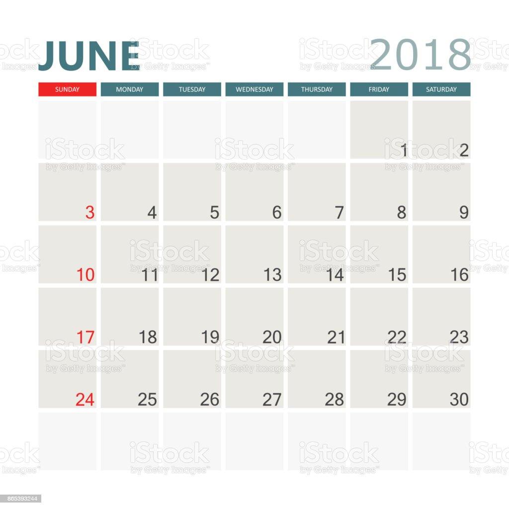 2018 年 6 月のカレンダーですカレンダー プランナーのデザイン