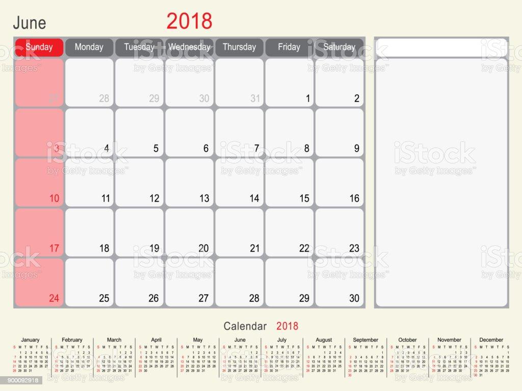 Juin 2018 calendrier planificateur design cliparts - Calendrier design ...