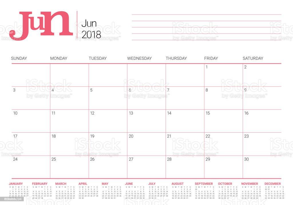 Calendar Planner Vector : June calendar planner vector illustration stock