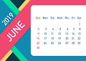 June 2019 Calendar Leaf. Calendar 2019 in flat style. A5 size. Vector stock illustration.