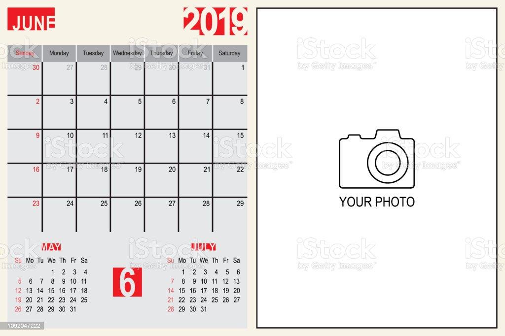 Calendrier Mensuel Juin 2019.Juin 2019 Calendrier Mensuel Planificateur Design Avec Place