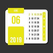 june 2019 month vector calendar