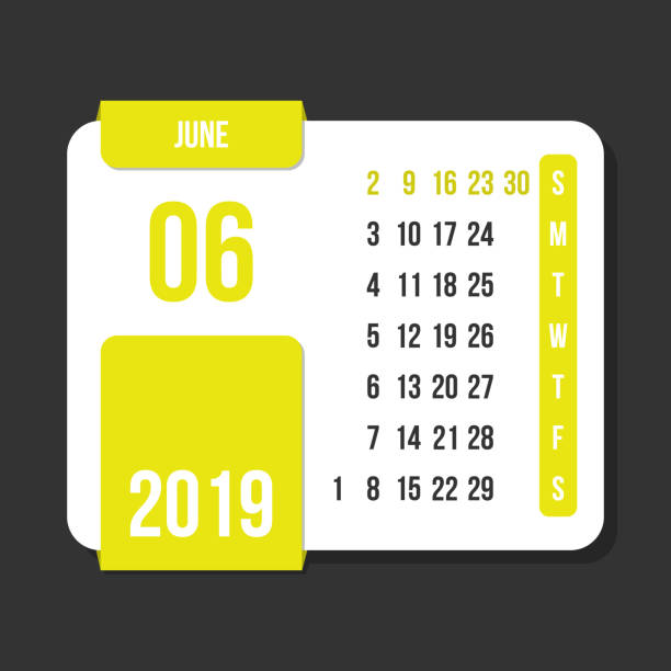 june 2019 month vector calendar - save the date calendar stock illustrations, clip art, cartoons, & icons