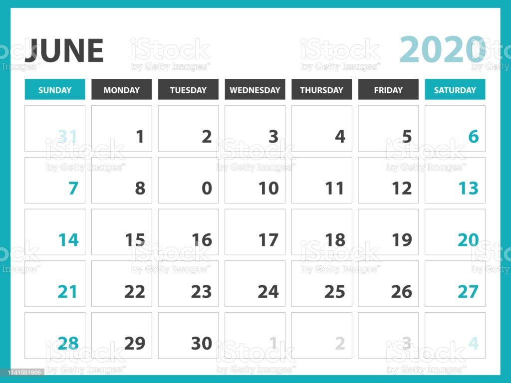Calendrier Juin 2020.Juin 2020 Calendrier Modele Calendrier De Bureau Mise En