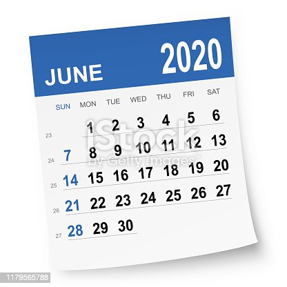 June 2020 calendar isolated on a white background. Need another version, another month, another year... Check my portfolio. Vector Illustration (EPS10, well layered and grouped). Easy to edit, manipulate, resize or colorize.