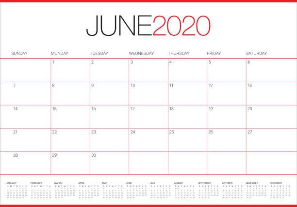 stockillustraties, clipart, cartoons en iconen met juni 2020 bureaukalender vector illustratie - juni