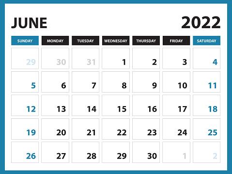 June 2022 Calendar Printable, Calendar 2022, planner design, Desk calendar template, Wall calendar, organizer office, Simple calendar, week starts on sunday, Modern calendar design vector eps 10