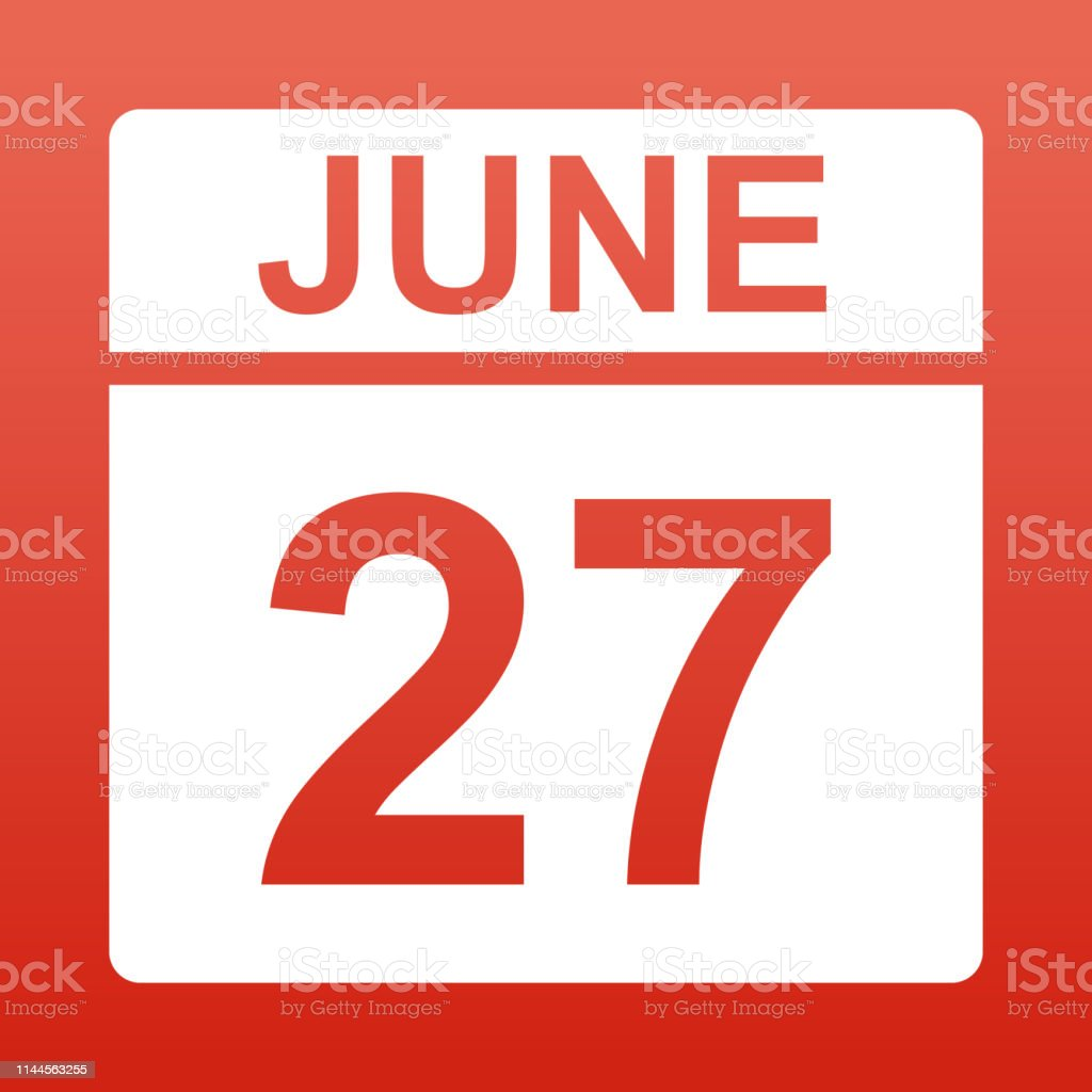 June 27. White calendar on a colored background. Day on the calendar....
