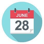 June 28 - Calendar Icon - Vector Illustration