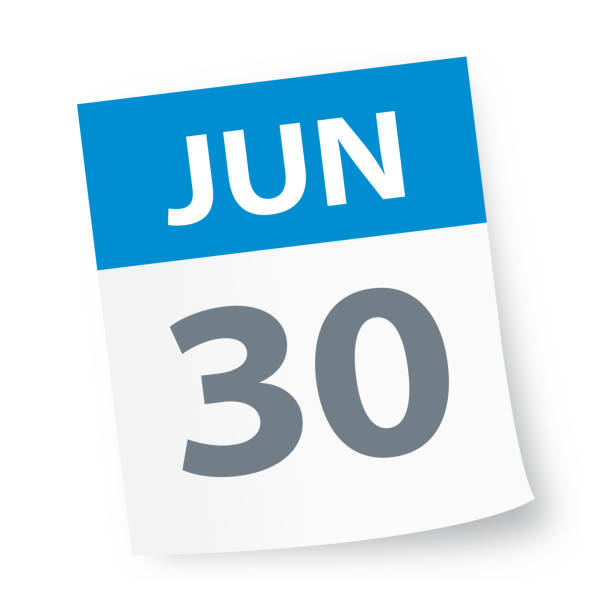 stockillustraties, clipart, cartoons en iconen met 30 juni - pictogram van de kalender - juni