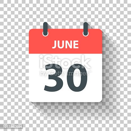 June 30. Calendar Icon with long shadow in a Flat Design style. Daily calendar isolated on blank background for your own design. Vector Illustration (EPS10, well layered and grouped). Easy to edit, manipulate, resize or colorize.