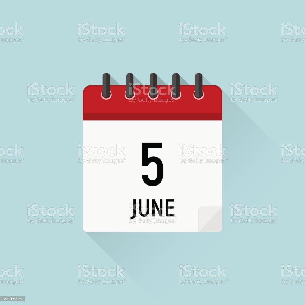 5 de junio, día mundial del medio ambiente. Icono del calendario. Días de datos del mes - ilustración de arte vectorial