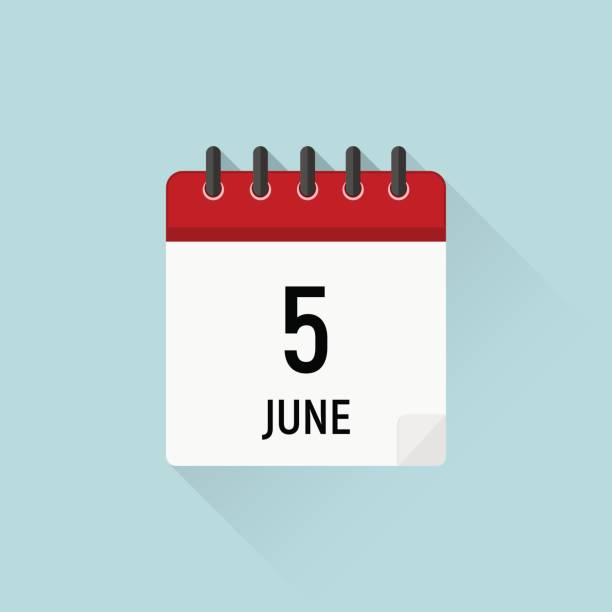 ilustraciones, imágenes clip art, dibujos animados e iconos de stock de 5 de junio, día mundial del medio ambiente. icono del calendario. días de datos del mes - calendario de naturaleza