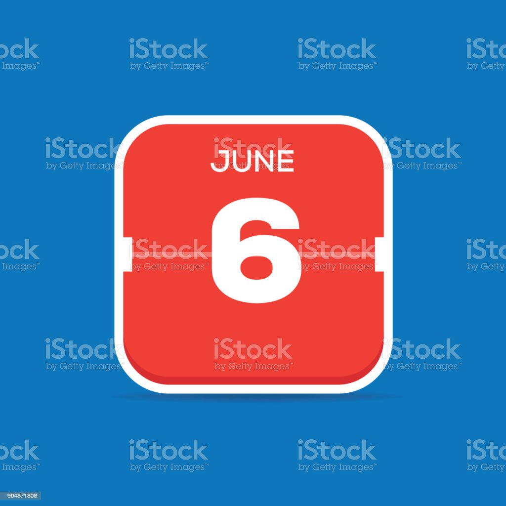 June 6 Calendar Flat Icon royalty-free june 6 calendar flat icon stock vector art & more images of art