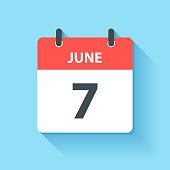 June 7. Calendar Icon with long shadow in a Flat Design style. Daily calendar isolated on blue background. Vector Illustration (EPS10, well layered and grouped). Easy to edit, manipulate, resize or colorize.