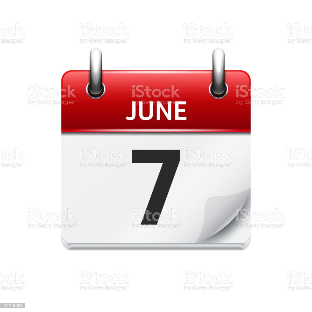 June  7. Vector flat daily calendar icon. Date and time vector art illustration