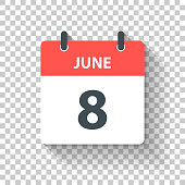 June 8. Calendar Icon with long shadow in a Flat Design style. Daily calendar isolated on blank background for your own design. Vector Illustration (EPS10, well layered and grouped). Easy to edit, manipulate, resize or colorize.