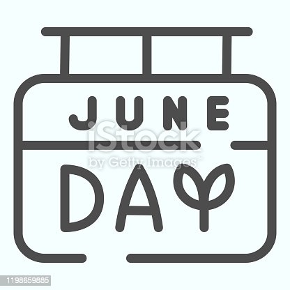 June calendar line icon. Typographic vector illustration isolated on white. Summer date outline style design, designed for web and app. Eps 10