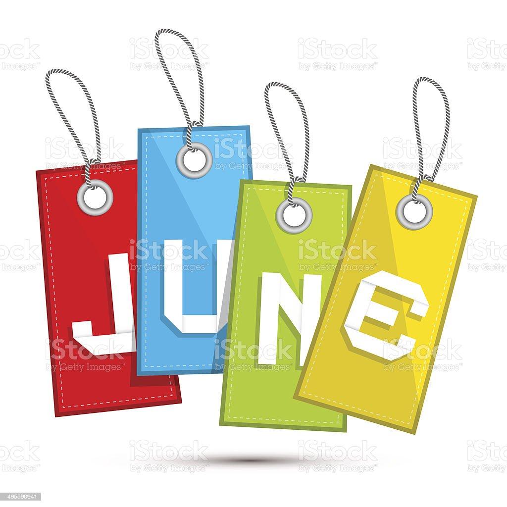 June Colorful Discount Sale Paper Labels vector art illustration