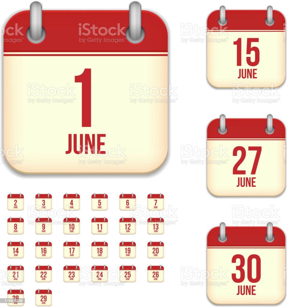 June days. Vector calendar icons vector art illustration