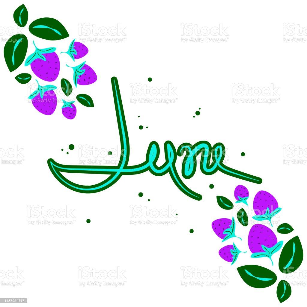 6月漫画風のフラットイラストイチゴの茂み夏の静物ベリー葉白の背景テキストベクターテンプレートネオンカラー イチゴのベクターアート素材や画像を多数ご用意 Istock