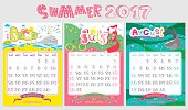 Doodle Calendar design 2017 year in vector. Inspirational holiday illustrations with cartoon animals and letters. Cute Summer background, seasonal card. June, July, August