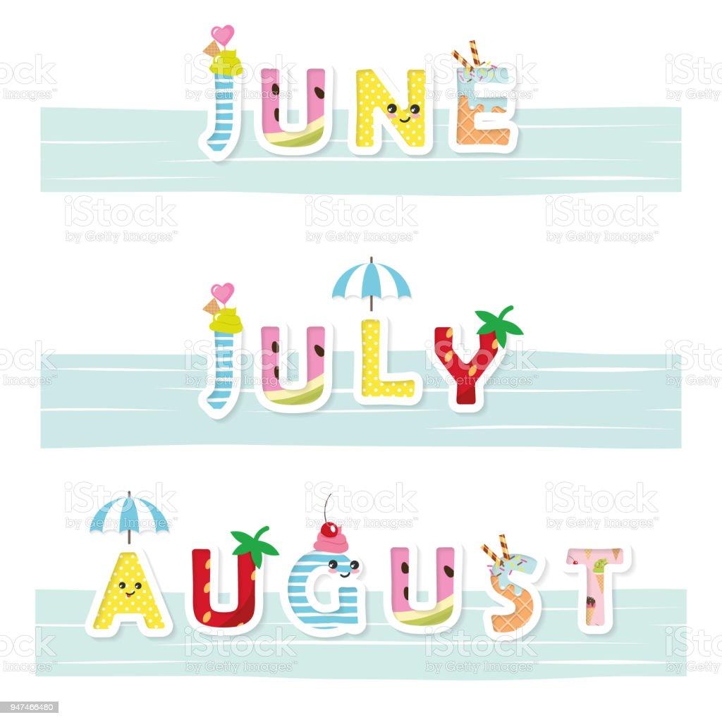 6 月7 月8 月の面白い碑文かわいい文字を漫画しますポスターバナー