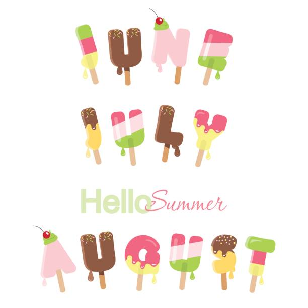 June, july, august. Hello summer. Ice cream melted letters isolated on white. vector art illustration