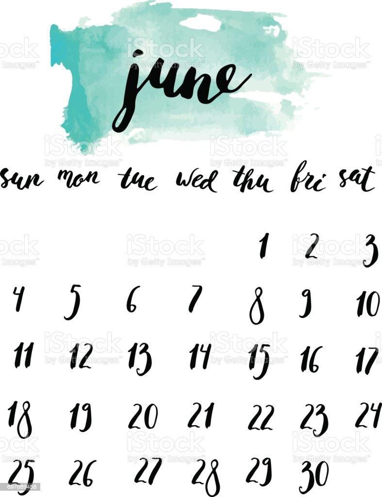 junimonatskalender mit tinte schriftzug stock vektor art. Black Bedroom Furniture Sets. Home Design Ideas