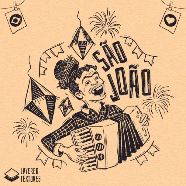 stockillustraties, clipart, cartoons en iconen met june party - saint john - houtsnede stijl gelukkig boertje spelen van de accordeon - houtgravure