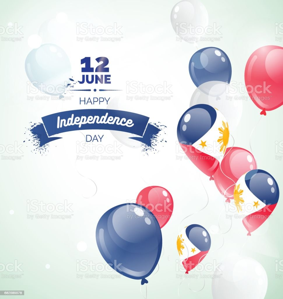 12 June. Philippines Independence Day greeting card. vector art illustration