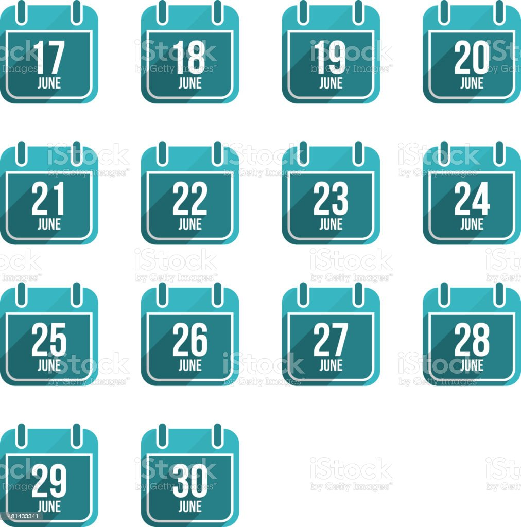 June vector flat calendar icons. Days Of Year Set 18 vector art illustration