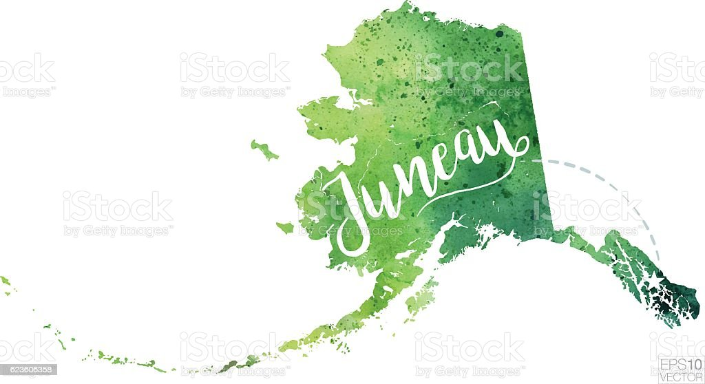 Juneau Alaska Usa Vector Watercolor Map Stock Vector Art - Alaska usa map