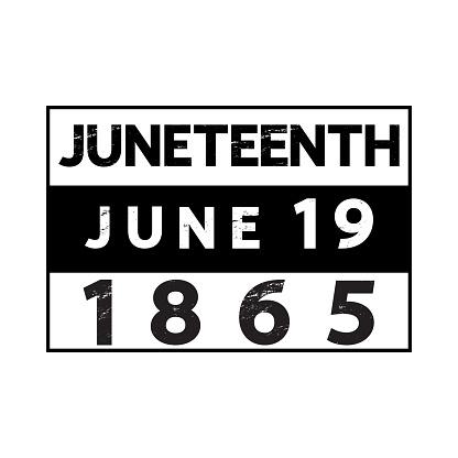 Juneteenth 1965 June 19 poster, t-shirt design, banner, card, festive sticker.